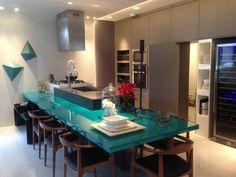 Dicas de Decoração: CASACOR 2013-cozinha azul turquesa com cinza