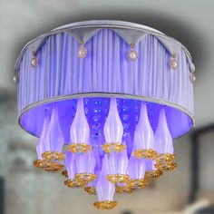 Fashion Pastoral Crystal Fabric Bedroom Ceiling Lamp Study Room Ceiling Lamp Girl's Room Ceiling Lamp