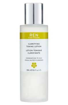 REN Clarifying Toning Lotion at Nordstrom.com. 28.00 (for acne prone) A refreshing, exfoliating toning lotion that unclogs pores and sloughs off dead skin leaving the complexion looking clear, smooth and even-toned. Reduces the appearance of pore size and oiliness while its antimicrobial action minimizes future breakouts. Skin feels fresher, clearer and wide awake.