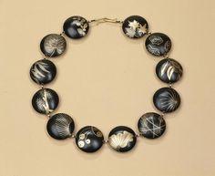 "Suzan Rezac. Jewelry. ""Ikebana"". Necklace. Shakudo, 18K gold, shibuichi. Inlay"