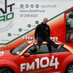 Honestly we weren't trying to put a dent in the roof of  @FM104 Beetle  #fm104 #DentProIE #Dublin #carporn #cars #motorinsurance #motoringIreland #success #ireland #fm104