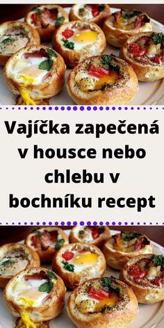 Czech Recipes, Ethnic Recipes, Bruschetta, Baked Potato, Hamburger, Sausage, Good Food, Food And Drink, Appetizers