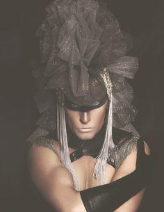"Dark Beauty Magazine ""Silver Lining"" Photographer: Laura Dark Headdress: Miss G Designs Model: Helena Troy"