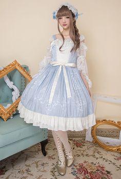 Little Dipper -Rose Lake- Classic Lolita Jumper Dress Version II with Detachable Overskirt