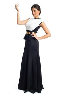 Noor Dress! This classy and elegant maxi dress by Xela is the perfect addition to your party wear wardrobe! It features a black and white sleeveless dress with a flare cut skirt and a gold belt that add tons of glamour and feminine appeal to the any woman. Makes a great buy for social gathering.   - See more at: http://www.xelafashion.com/?page_id=23&slug=product_info.php&products_id=187#sthash.wrVBDkab.dpuf
