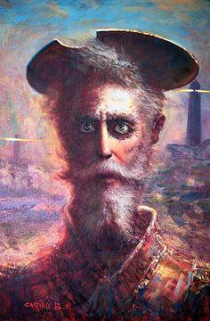 El Quijote, obra al óleo del artista Juan Angel Castillo, en Giorgio Santini Gallery