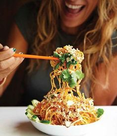 "THE famous Tangled Thai Salad from Toronto's ""Fresh"" restaurant. Per serving: Cal-160 Fat- 3.9 Carb- 28.3 Fibre- 9.1 Protein- 6.7 Sugars- 16.1"