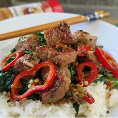 """""""PORK CHOP STIR FRY  This recipe works well with chicken, beef and pork.  Pork Chop Stir Fry with Chinese Broccoli over rice.  This dish takes only minutes…"""""""