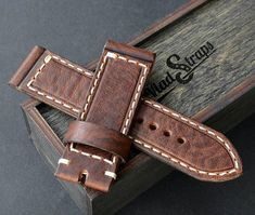 26x26mm brown leather watch strap panerai style