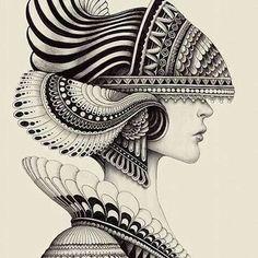"felixinclusis: "" beautifulbizarremagazine: Amazing drawing by Iain Macarthur "" Mandala Art Lesson, Mandala Artwork, Mandala Drawing, Watercolor Mandala, Girl Drawing Sketches, Cool Art Drawings, Pencil Art Drawings, Black And White Art Drawing, African Art Paintings"