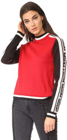 Msgm Logo Arm Pullover In Red/black Diane Von Furstenberg, Moschino, Rebecca Minkoff, Sweater Shop, Sweater Skirt, Demylee, Fashion To Figure, Double Knitting, Boutique