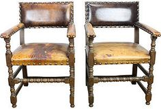 Spanish Leather Chairs, Pair