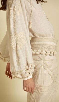 Johanna Ortiz Bell Sleeves, Bell Sleeve Top, Sculptural Fashion, Fashion Details, Fall Winter, Lace, Shades, Embroidery, Vacation