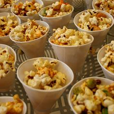 Popcorn in individual paper cups