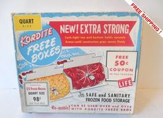 RARE Vintage Mid Century Unopened Quart Size Kordite Freeze Boxes  25 Count -VERY KITSCHY by VintageSistersx2 on Etsy