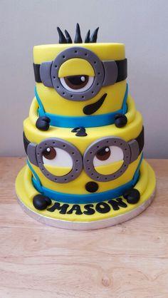 Original tarta para fiesta de cumpleaños Minions Bolo Minion, Minion Baby, Minion Birthday, 4th Birthday Parties, 2nd Birthday, Birthday Cakes, Minion Cookies, Disney Cake Toppers, Despicable Me Party