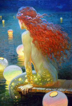 Victor Nizovtsev é un pintor de aceite maxistral de composición teatral figurativo, fantasía, paisaxes e natureza morta Mermaid Artwork, Mermaid Drawings, Fantasy Kunst, Fantasy Art, Meer Illustration, Victor Nizovtsev, Mermaid Sketch, Mermaid Mermaid, Art Magique