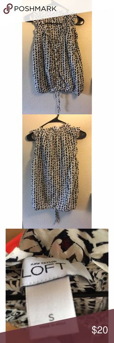 The LOFT size S blouse Size S LOFT blouse. Black and off white colored. Very short sleeves. Thin material perfect for summer. Dress it up or dress it down. LOFT Tops Blouses