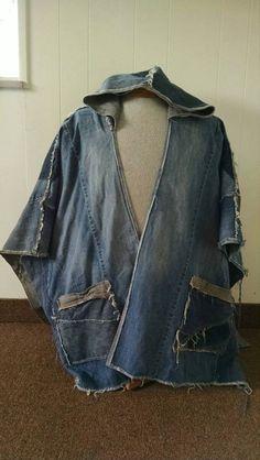 Hooded recycled denim poncho unisex ecofriendly jacket upcycled reconstructed