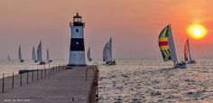 sailboats leaving Presque Isle Bay at sunrise last weekend to head to Port Dover, Ontario, for the annual Lake Erie Interclub races. Erie Pennsylvania, Pennsylvania History, Lighthouse Festival, Presque Isle State Park, Lake Erie, Sunrise, Coastal, Scenery, City