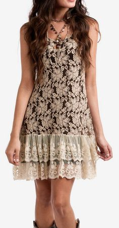 Cream & Brown Lace Lily Sleeveless Dress