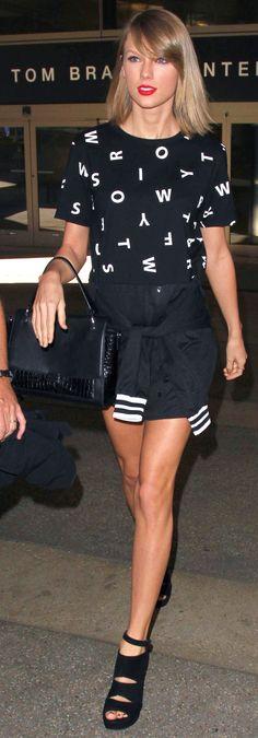 Taylor Swift ; Arriving at LAX Airport, Los Angeles, November 2015 ; Heritage 66 dress, Stuart Weitzman Sandals & Elizabeth & James bag