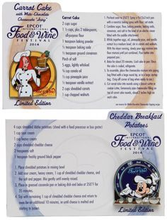 Recipes for Carrot Cake and Cheddar Breakfast Potatoes from the 2014 #Epcot International Food & Wine Festival! (Plus a look at the new merchandise).