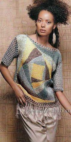 Пуловер в стиле пэчворк. Вязание спицами и крючком