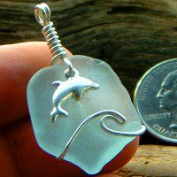 Dolphin Wave Rider Pale Aqua Blue pendant - By The Bay Treasures $40.00. Make with anchor.