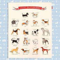 Alice Tait 'Great British Dogs' Tea Towel - Alice Tait Shop