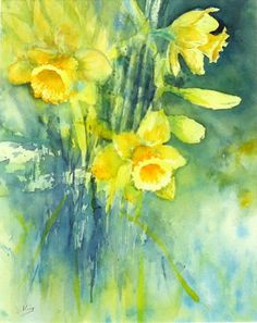 123 Daffodils - Janet King - Watercolour £90