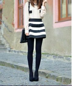 The Beyond Black and White Bandage Skirt