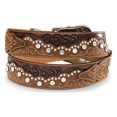 Tony Lama Women's Kaitlyn Crystal Leather Western Belt