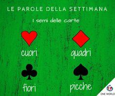 Abbiamo cuori, quadri, fiori e picche. Quando li avrai memorizzati sarai pronto per una bella partita a carte con i tuoi amici italiani!