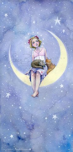 Princess Art Print with Cats Moon Crest and Stars.