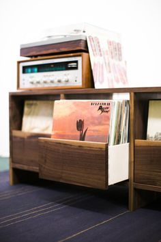 Killscrow 4 Drawer Vinyl Cabinet. Drawers facing out for easy record storage and selection.