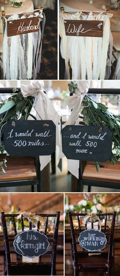 creative wedding chair decor and sign ideas for bride and groom