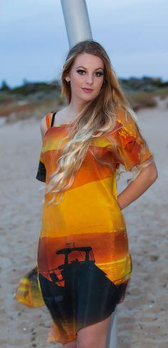 Orange sunset silk kaftan made in Australia by Seahorse Silks
