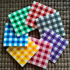 Gingham inspired coaster set hama beads by keirac_x for teens gift Melt Beads Patterns, Easy Perler Bead Patterns, Perler Bead Templates, Beading Patterns, Hama Beads Coasters, Diy Perler Beads, Perler Bead Art, Hama Coaster, Coaster Set