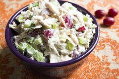 skinny chicken salad recipe serves 8 purple bowl