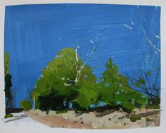 Old Cedar Original Landscape Collage Painting on Paper by Paintbox