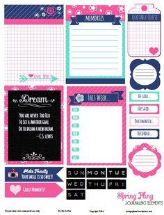 Free Printable Download    Spring Fling Journaling Elements