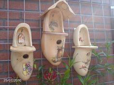 Wooden shoe bird house