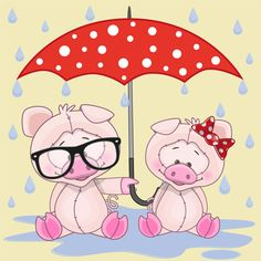Cute animals and umbrella cartoon vector 01
