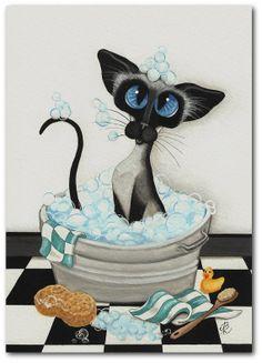 Blue Eyes & Bubbles - Siamese Cat Rubber Duck Bath ArT - 5x7 Print by AmyLyn Bihrle