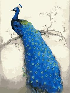 [ New Release ] Diy Oil Painting by Numbers, Paint by Number Kits - Blue Peacock 16*20 inches - Digital Oil Painting Canvas Wall Art Artwork Landscape Paintings for Home Living Room Office White Christmas New Year Valentine Decor Decorations Gifts - Diy Paint by Numbers Diy Canvas Kit for Adults Advanced Children Seniors Junior - New Arrival