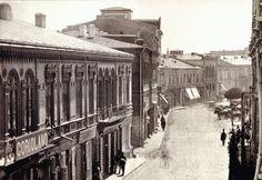 M. B. Baer: Podul Mogosoaiei (Calea Victoriei), catre Teatrul National (dreapta, in afara cadrului), 1869. (Colectia de Stampe, Biblioteca Academiei Romane)