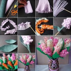 These Crepe Paper Hyacinths are So Easy and Beautiful - http://www.amazinginteriordesign.com/crepe-paper-hyacinths-easy-beautiful/