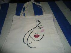 bolsa pintada a mano rostro dama