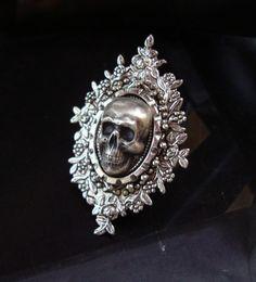 Skulley Dinner Ring Human Head Skull Sterling by JewelrybyTiKi, $38.00